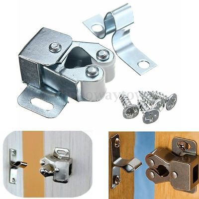 1-10x Chrome Roller Catches Silver Cupboard Cabinet Door Latch Stopper + Screws