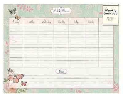 Weekly Desk Pad Organiser Planner To Do Notes Butterfly & Rose Design 52 pg GIDE