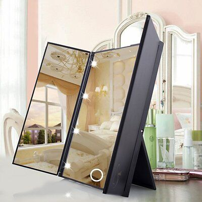 Makeup Tri-sided Foldable Portable Lighted Tabletop 8 LED Beauty Vanity Mirror