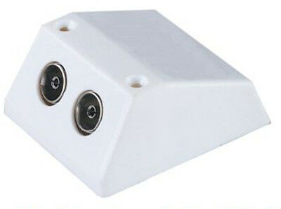 2 X Socket Surface Mounted Tv/fm Aerial Coaxial Wall Outlet House Double Adapter