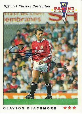 A Panini 92 card featuring & personally signed Clayton Blackmore  Manchester Utd