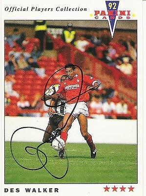 A Panini 92 card featuring & personally signed by Des Walker Nottingham Forest