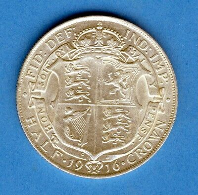 KING GEORGE V 1916 Silver First Coinage Half Crown .925 Sterling Silver