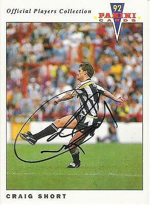 A Panini 92 card featuring & personally signed by Craig Short of Notts County.
