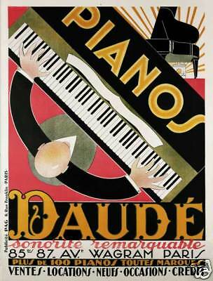 Pianos Daude French music piano store deco 1930's art poster print SKU1009