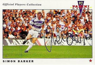 A Panini 92 card featuring & personally signed by Simon Barker of QPR.
