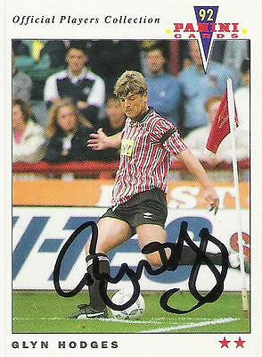 A Panini 92 card featuring & personally signed by Glyn Hodges Sheffield United
