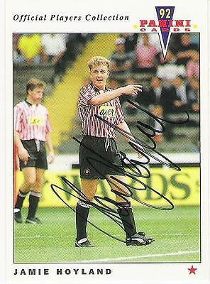 A Panini 92 card featuring & personally signed by Jamie Hoyland Sheffield United