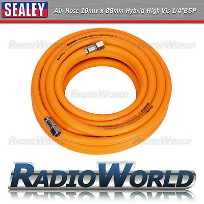 "Sealey Air Hose Hi-Vis 10mtr x Ø8mm with 1/4""BSP Unions Garage Compressor"
