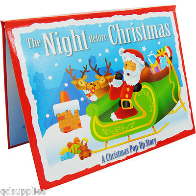 Santa The Night Before Christmas Childrens 3d Pop Up Story Book New Hardback ALG
