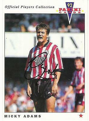 A Panini 92 card featuring & personally signed by Micky Adams of Southampton.