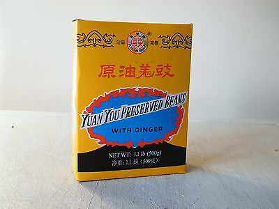 Yuan You Preserved Black Beans Soybeans with Ginger Chinese Douchi 500g Box
