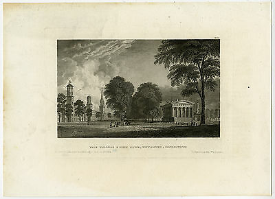 Antique Print-YALE COLLEGE-NEW HAVEN-STATE HOUSE-USA-Metzeroth-Meyer-1832