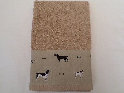 Handmade Beige Cotton Kitchen Hand Towel - Sophie Allport Woof Dog Fabric