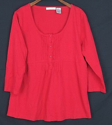 Hannah Red Dressy Knit Top Blouse Shirt Size Petite Large 3 4 Sleeve