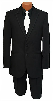 Mens Size 42R Black 2 Button Slim Satin Trim Peak Lapel Tuxedo Wedding Package