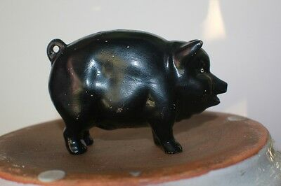 Vintage England Pottery Paddy's Lucky Black Pig Bank