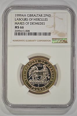 1999-AA Gibraltar 2 Pounds Labours of Hercules NGC MS66 Mares of Diomedes Rare!
