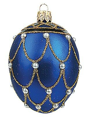 Mini Blue Pearl Egg Faberge Inspired Polish Glass Ornament  Easter Decoration