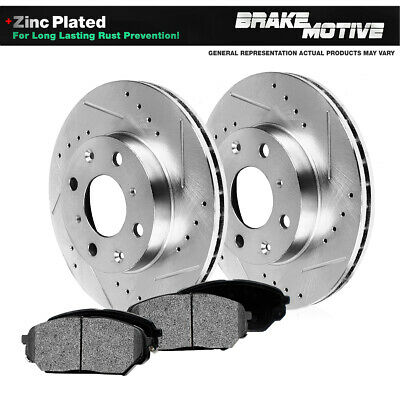 Front Drilled Slotted Brake Rotors & Metallic Pads Pontiac G5 Chevy Cobalt ION