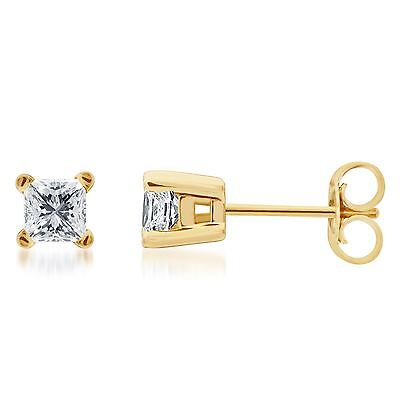 Solid 14k Yellow Gold Princess Cut Diamond Solitaire Studs Earrings 1ct