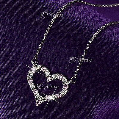 18K White Gold Gf Made With Swarovski Crystal Love Heart Pendant Necklace Pink