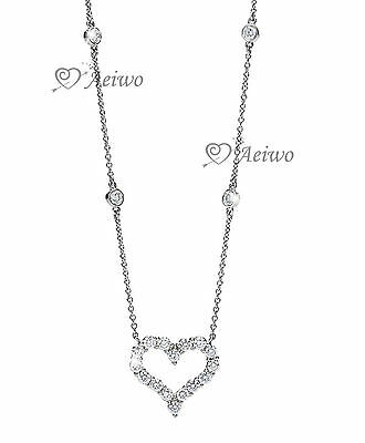 18K White Gold Filled Made With Swarovski Crystal Love Heart Pendant Necklace