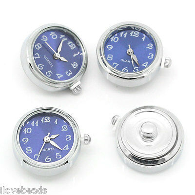 1PC Watch Face Snap Click Buttons Snap Blue Fit Snap Bracelet 25mmx21mm