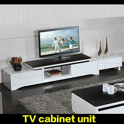 TV Entertainment Unit Modern High Gloss Stand Cabinet with  Drawers New