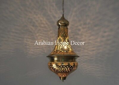 Handcrafted Gold Brass Egyptian Moroccan Hanging Lamp Lantern Light