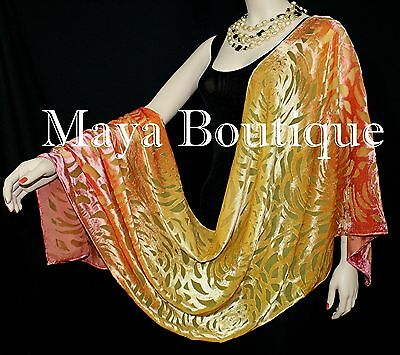 Maya Matazaro Hand Dyed Orange Gold Camellia Shawl Wrap Scarf Burnout Velvet