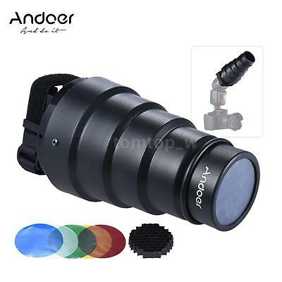Andoer Conical Snoot Light Modifier w/ 50°Honeycomb Color Filter for Neewer H3Q5