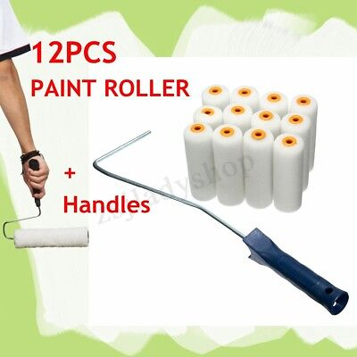 12X 100mm Paint Foam Rollers Decorators Brush Evenly & Smooth Tools + Handles