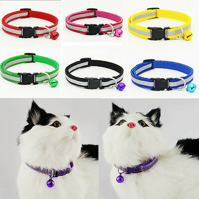 Pet Cat Dog Puppy Necklace Glossy Reflective Collar Buckle With Bell Adjustable