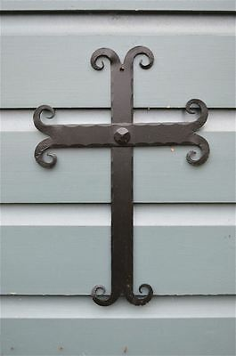Hand Wrought Iron Gothic Curl Cross Wall Crucifix Holy Cross Blacksmith Made Cc1