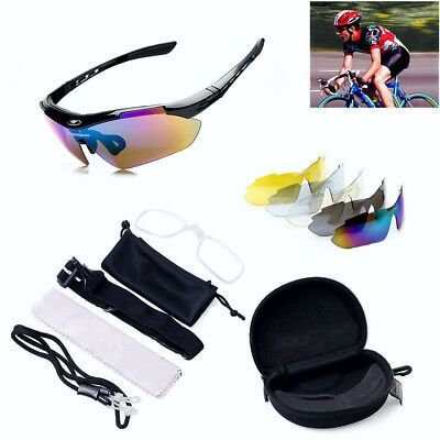 ROCKBROS Pro Polarized Cycling Glasses Bike MTB Sports Sunglasses 5Lens Goggles