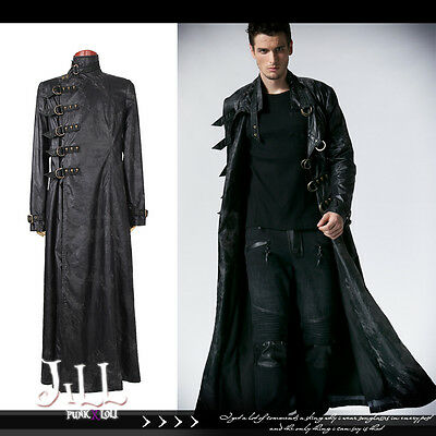 punk visual rock dark empire death knight stand up collar Leather long coat Y549