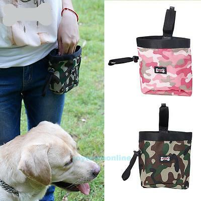 Camouflage Pet Dog Puppy Training Pouch Walking Treat Snack Bag Dispenser Clip