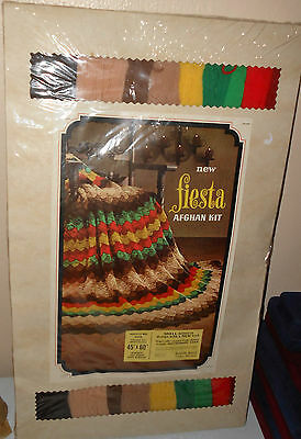 "Sealed VTG Badger Mills Fiesta Afghan Kit 45"" x 60"" 100% VIRGIN WOOL NEW"