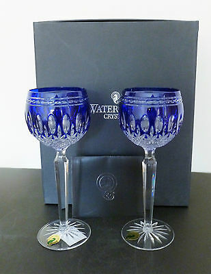 Waterford Crystal Clarendon Cobalt Blue Hock Glasses x2 Brand New Mint In Box