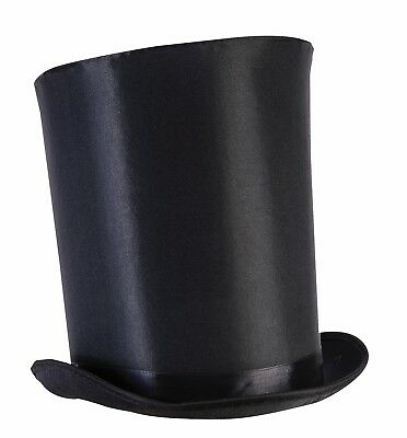 Tall Black Top Hat Victorian Steampunk Magician Mad Hatter Ringmaster Costume