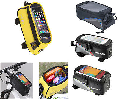 ROSWHEEL Cycling Bike Bicycle Panniers Frame Front Tube Phone Touch Screen Bag