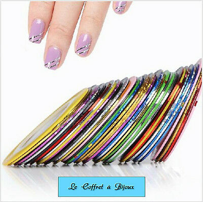 10 Rouleaux Fils Bande Stickers Autocollants Nail Art Décoration Ongles.