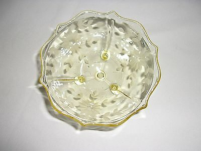 Yellow Flower Etched Footed Elegant Glass Bon Bon Treat Bowl Dish