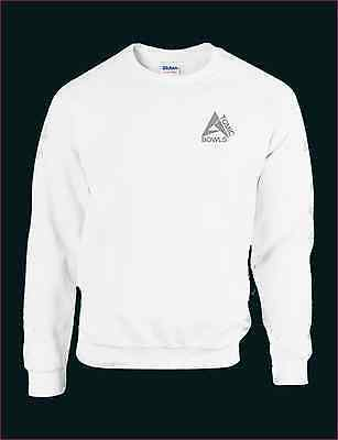 Atomic Bowls Mens Womens Unisex Lawn Bowls White Sweatshirt Jumper