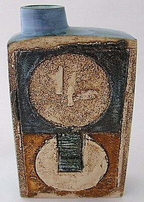 Fantastic Troika Pottery Chimney Vase With Stylish Abstract Design