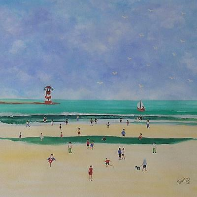 Judy Joel Original Gouache Painting - Beach Scene With People And Lighthouse