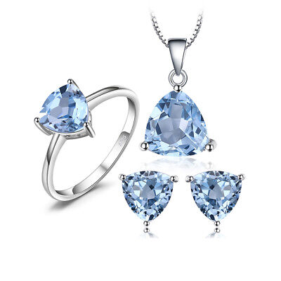 JewelryPalace 5.8ct Genuine Sky Blue Topaz Jewelry Sets 925 Sterling Silver