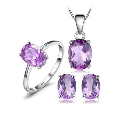 JewelryPalace Oval 4ct Genuine Purple Amethyst Jewelry Sets 925 Sterling Silver