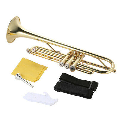 Beginner Trumpet Bb B Flat Brass Gold with Gloves Accessories Kit Case Fast Ship